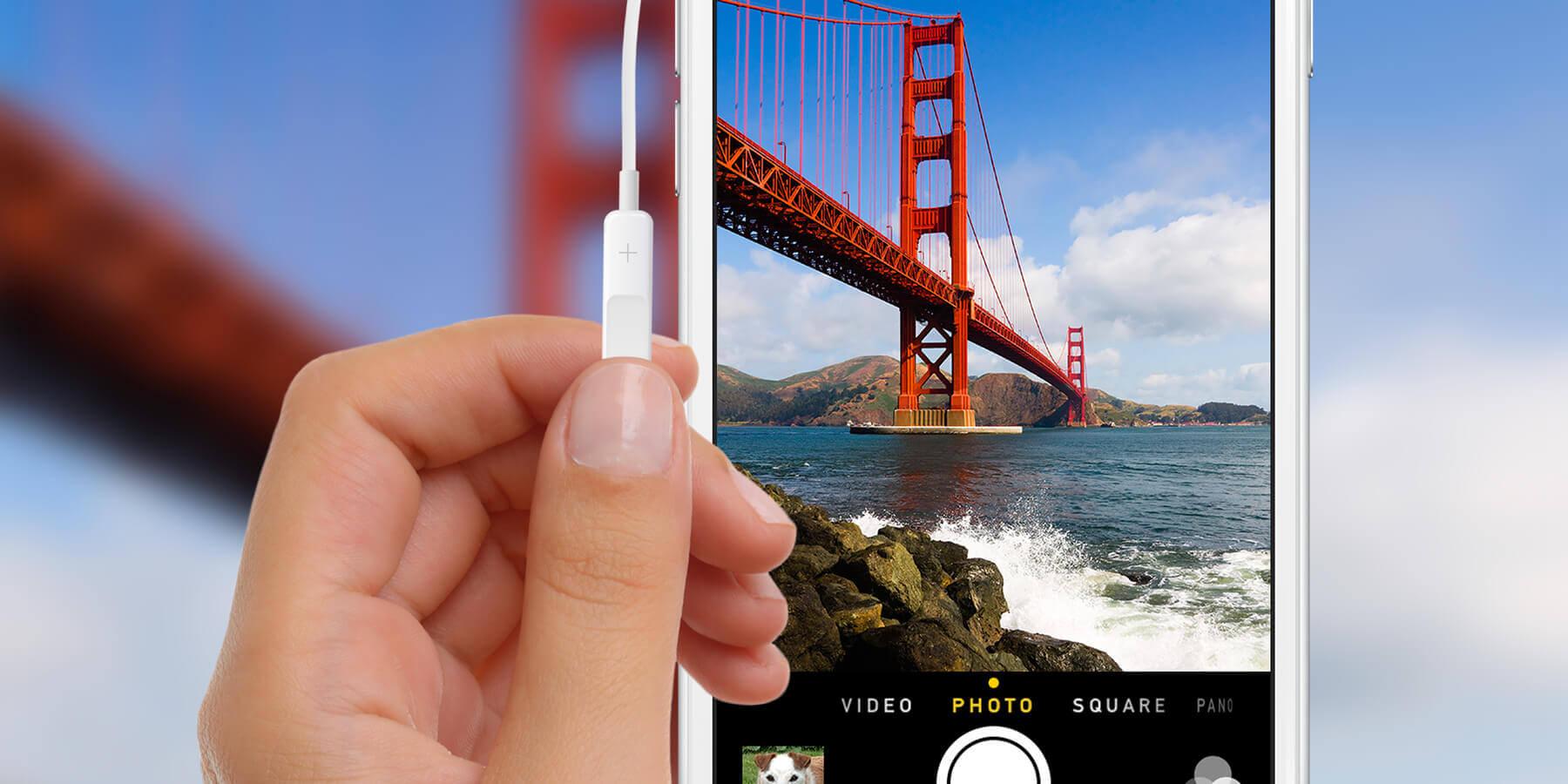 Foto's maken iPhone met koptelefoon